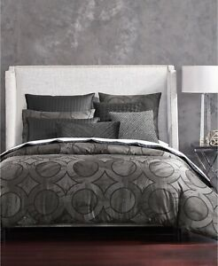 Hotel Collection KING Comforter Marble Geo 400 Thread Count Black 105