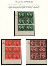 1940 CENTENARY STAMPS G/40 CONTROLS CYLINDER BLOCKS OF 6 ON 2 DISPLAY PAGES