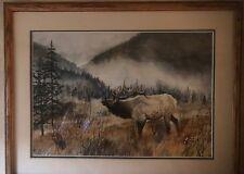 Bob Child Internationally known wildlife artist  Elk, Original water color