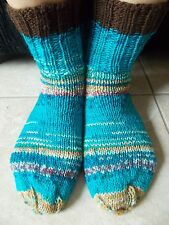 Hand knitted wool blend socks, turquoise + colors with dark brown trim