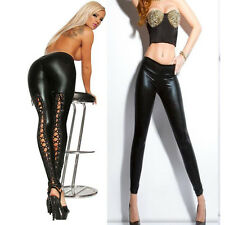Women's Black Lace Up Pants Faux Leather PVC Trousers Slim Fit Black Pants UK12