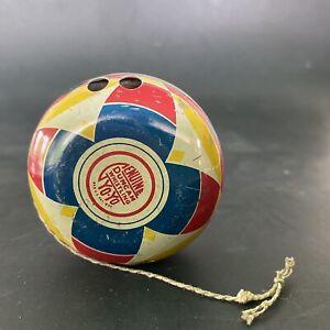 Vintage Genuine Duncan Whistling Yo-Yo Primary Colors Red Blue Yellow White Tin