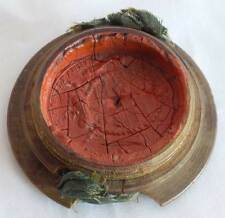 "DUTCH, 17th C BOXED WAX SEAL INSCRIBED ""OBRIST IAGER MAISTER AMBT"", ANTIQUE"