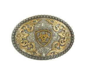 ARIAT MEN'S ANTIQUE SILVER AND GOLD OVAL BELT BUCKLE