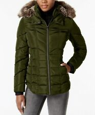 NWT NAUTICA  Faux-Fur-Trim Puffer Coat MILITARY GREEN Size XS~MSRP$195