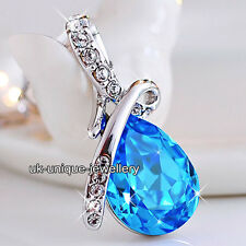 GIFTS FOR HER Blue Sapphire Crystal Silver Necklace Xmas Present Women Jewellery