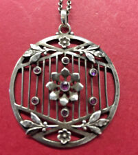 Arts and Crafts ANTIQUE Silver Amethyst necklace beautifully made & patenation