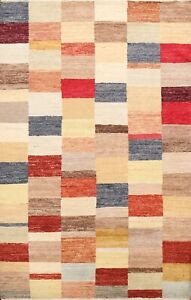 Checkered Hand-knotted Gabbeh Kashkoli Oriental Area Rug Contemporary 5x7 Carpet