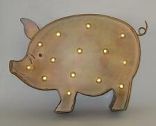 """Antique Style LED Lighted Pig Piggy Country Rustic 12"""" x 9.5"""" Metal 6 hr Timer"""