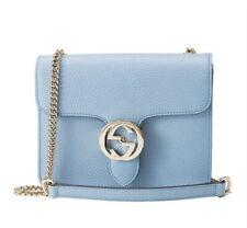 NEW GUCCI interlocking GG logo Blue Leather Shoulder/crossbody Bag AUTHENTIC