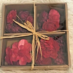 20 Piece SOLA BOWL FILLERS Assorted Flowers Paper Wood Reds Pinks Floral New
