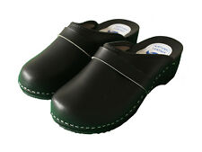 Womens Hand Made Clogs Ladies Wooden Sole 100% Natural Leather Upper 3 4 5 6 7 8