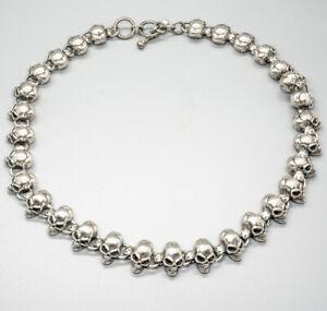 3D Skull Necklace 925 sterling silver handmade Chain Choker Link Gothic Biker