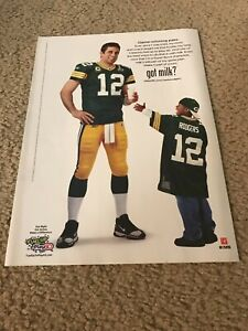 Vtg 2011 AARON RODGERS GOT MILK? Poster Print Ad GREEN BAY PACKERS SUPER BOWL