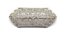 14k White Gold Diamond Accent Filigree Antique Brooch #E