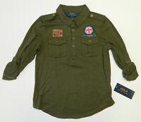 Polo Ralph Lauren Girls Defender Military Shirt Green Top Appliqué Size 6 6X New