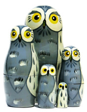 Great Grey Owls 5-Piece Russian Nesting Doll Stacking Matryoshka Set by GreatRus