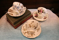 Vintage 3 Tea Cup & Saucer Sets Matching Bone China England Queen Anne Tuscan