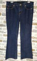 Calvin Klein Women's Size 31/12 Mid Rise Dark Wash Flare Leg Stretch Jeans