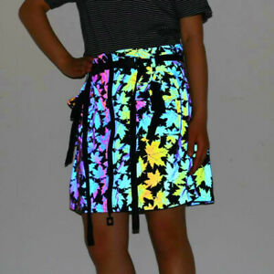 Women's Maple Leaf Dazzle Colorful Reflection Half Hipster Short A-line Skirt