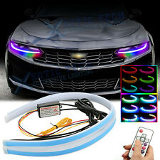 "For Chevy Camaro Corvette 24"" RGB LED Sequential Daytime Running Light Headlight"