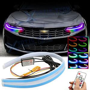 "For Chevy Camaro Corvette 24"" RGB LED Sequential Daytime Running Light Headlight"