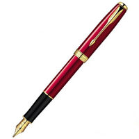 Good Parker Sonnet Series Red Color Golden Clip 0.5mm Fine Nib Fountain Pen