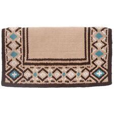 "Tough-1 Diamond Wool Saddle Blanket 36""x34"" Tan/Brown/Turquoise"