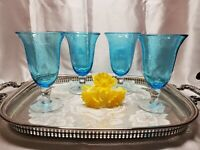 Artland Hand-Blown Iris Turquoise Bell Stemmed Footed Iced Tea Glasses -Set of 4