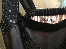 Vintage Chloe dress featuring black silk overlays with beaded embellishments