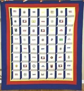 PATRIOTIC USA Army, Navy, Air Force, American Flag, POW MIA Marines Badge Quilt!