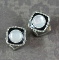 Vintage Art Deco Black Enamel Mother of Pearl Silver Square Snap Link Cuff Links
