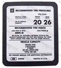Corvette NEW Tire Pressure Sticker Located on Back of Drivers Door 1976-1977