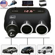 3-Socket Cigarette Car Lighter Adapter DC Outpet 12V/24V Dual USB Car Charger US
