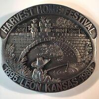 Vtg 1986 Harvest Home Festival Leon Kansas Pewter Belt Buckle Fishing Bridge