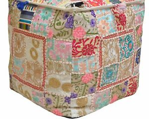 "Indian Cotton Pouf Cover Handmade Patchwork Vintage Ottoman Square 16X16"" Inches"