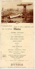 MENU PUBLICITAIRE BYRRH / BREST /  CROISIERE AUDITEURS RADIO 10 SEPTEMBRE 1938