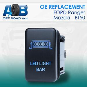 LED LIGHT BAR F107B PUSH SWITCH FOR FORD RANGER MAZDA BT50 DUAL LED BLUE ON-OFF