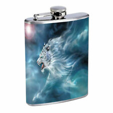Mystic White Tiger Em1 Flask 8oz Stainless Steel Hip Drinking Whiskey