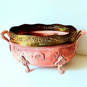 Ornate Decorative Metal Bowl Footed Rose w/ Gold Trim Shabby Chic Made in India