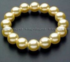 "10mm Golden south sea shell pearl round beads bangle bracelets 7.5"" AAA"