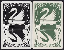 2 Single VINTAGE Swap/Playing Cards SWAN BIRDS SILHOUETTE BLACK + GREEN