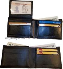 Lot of 2 New man's skinny leather Bi-fold wallet 6 bank card holder 2 billfolds