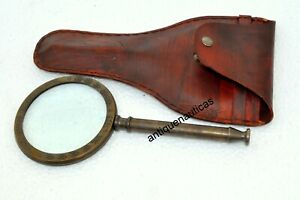 """Antique 10"""" MAGNIFYING GLASS With Leather Case Handmade Nautical Maritime Gift"""