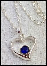 Vintage .925 Sterling Silver & Blue Cubic Zirconia, Heart Pendant Necklace, 18""