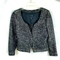 J. Crew womens black white textured wool cotton blend blazer jacket sz 6P