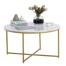 Modern Marble Simple  MDF Metal Round Coffee Table Home Furniture White New