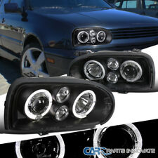For 93-98 VW Golf Mk3 95-98 Cabrio Black Halo Projector Headlights Head Lamps