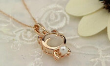 Women Charm White Gold Plated Lucky Cat Cat Eye Pearl Pendants Necklace Jewelry