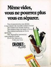 PUBLICITE ADVERTISING 045  1970  CRICKET   automatic  briquet